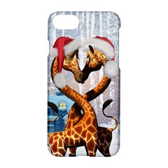 Christmas, Giraffe In Love With Christmas Hat Apple Iphone 7 Hardshell Case by FantasyWorld7