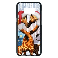 Christmas, Giraffe In Love With Christmas Hat Samsung Galaxy S8 Plus Black Seamless Case by FantasyWorld7