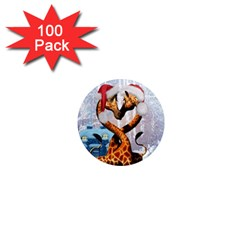 Christmas, Giraffe In Love With Christmas Hat 1  Mini Magnets (100 Pack)  by FantasyWorld7