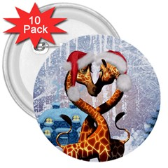 Christmas, Giraffe In Love With Christmas Hat 3  Buttons (10 Pack)  by FantasyWorld7