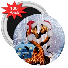 Christmas, Giraffe In Love With Christmas Hat 3  Magnets (100 Pack) by FantasyWorld7