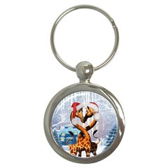 Christmas, Giraffe In Love With Christmas Hat Key Chains (round)  by FantasyWorld7