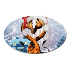 Christmas, Giraffe In Love With Christmas Hat Oval Magnet by FantasyWorld7