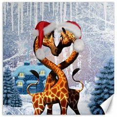 Christmas, Giraffe In Love With Christmas Hat Canvas 12  X 12   by FantasyWorld7