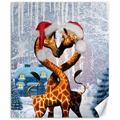 Christmas, Giraffe In Love With Christmas Hat Canvas 20  X 24   by FantasyWorld7