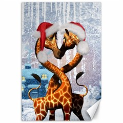 Christmas, Giraffe In Love With Christmas Hat Canvas 24  X 36  by FantasyWorld7