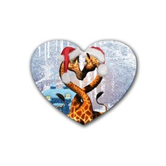 Christmas, Giraffe In Love With Christmas Hat Heart Coaster (4 Pack)  by FantasyWorld7