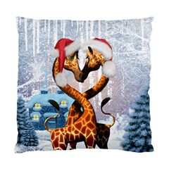 Christmas, Giraffe In Love With Christmas Hat Standard Cushion Case (two Sides) by FantasyWorld7