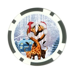 Christmas, Giraffe In Love With Christmas Hat Poker Chip Card Guard (10 Pack) by FantasyWorld7