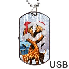 Christmas, Giraffe In Love With Christmas Hat Dog Tag Usb Flash (two Sides) by FantasyWorld7