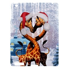 Christmas, Giraffe In Love With Christmas Hat Apple Ipad 3/4 Hardshell Case by FantasyWorld7