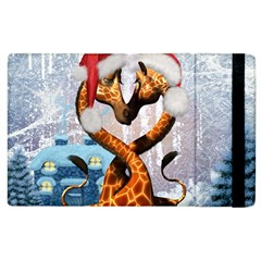 Christmas, Giraffe In Love With Christmas Hat Apple Ipad 2 Flip Case by FantasyWorld7