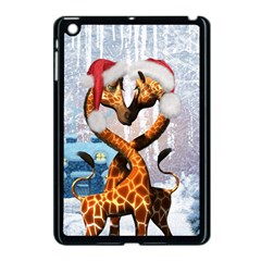 Christmas, Giraffe In Love With Christmas Hat Apple Ipad Mini Case (black) by FantasyWorld7