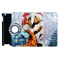 Christmas, Giraffe In Love With Christmas Hat Apple Ipad 3/4 Flip 360 Case by FantasyWorld7