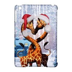 Christmas, Giraffe In Love With Christmas Hat Apple Ipad Mini Hardshell Case (compatible With Smart Cover) by FantasyWorld7
