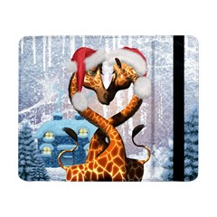 Christmas, Giraffe In Love With Christmas Hat Samsung Galaxy Tab Pro 8 4  Flip Case by FantasyWorld7