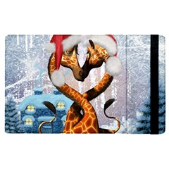Christmas, Giraffe In Love With Christmas Hat Apple Ipad Pro 12 9   Flip Case by FantasyWorld7