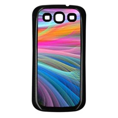 Rainbow Feather Samsung Galaxy S3 Back Case (black) by AllOverIt