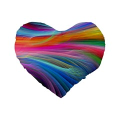 Rainbow Feather Standard 16  Premium Flano Heart Shape Cushions by AllOverIt