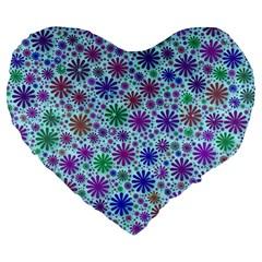 Lovely Shapes 3b Large 19  Premium Flano Heart Shape Cushions by MoreColorsinLife