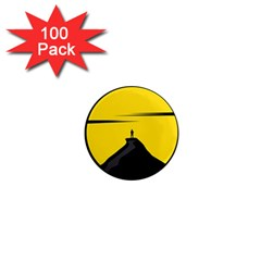 Man Mountain Moon Yellow Sky 1  Mini Magnets (100 Pack)  by Nexatart