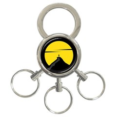 Man Mountain Moon Yellow Sky 3 Ring Key Chains by Nexatart