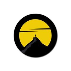 Man Mountain Moon Yellow Sky Rubber Coaster (round)