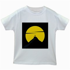 Man Mountain Moon Yellow Sky Kids White T Shirts