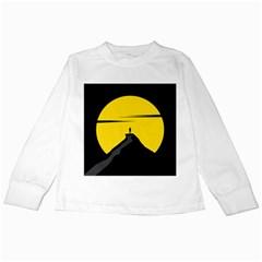 Man Mountain Moon Yellow Sky Kids Long Sleeve T Shirts