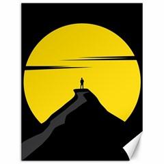 Man Mountain Moon Yellow Sky Canvas 12  X 16