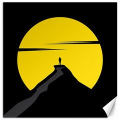 Man Mountain Moon Yellow Sky Canvas 20  X 20