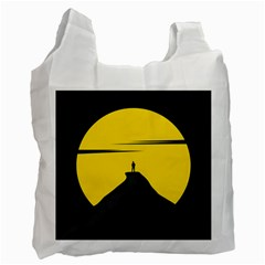 Man Mountain Moon Yellow Sky Recycle Bag (two Side)