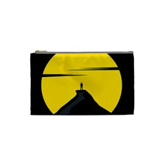 Man Mountain Moon Yellow Sky Cosmetic Bag (small)  by Nexatart