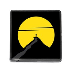 Man Mountain Moon Yellow Sky Memory Card Reader (square)