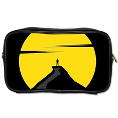 Man Mountain Moon Yellow Sky Toiletries Bags by Nexatart