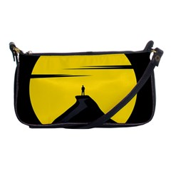 Man Mountain Moon Yellow Sky Shoulder Clutch Bags by Nexatart