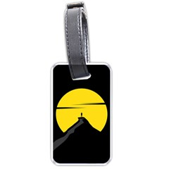 Man Mountain Moon Yellow Sky Luggage Tags (two Sides)
