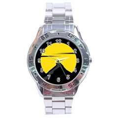 Man Mountain Moon Yellow Sky Stainless Steel Analogue Watch