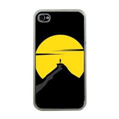 Man Mountain Moon Yellow Sky Apple Iphone 4 Case (clear)