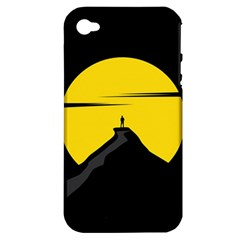 Man Mountain Moon Yellow Sky Apple Iphone 4/4s Hardshell Case (pc+silicone)