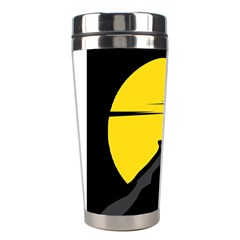 Man Mountain Moon Yellow Sky Stainless Steel Travel Tumblers by Nexatart