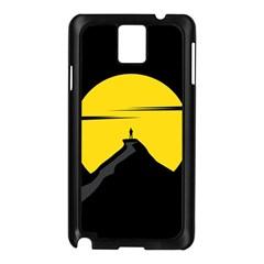 Man Mountain Moon Yellow Sky Samsung Galaxy Note 3 N9005 Case (black)