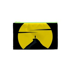 Man Mountain Moon Yellow Sky Cosmetic Bag (xs)