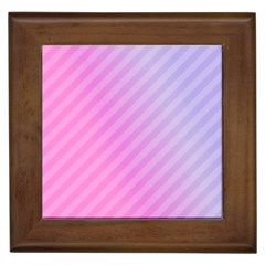 Diagonal Pink Stripe Gradient Framed Tiles