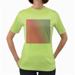 Diagonal Pink Stripe Gradient Women s Green T Shirt