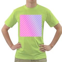 Diagonal Pink Stripe Gradient Green T Shirt