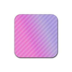 Diagonal Pink Stripe Gradient Rubber Square Coaster (4 Pack)  by Nexatart