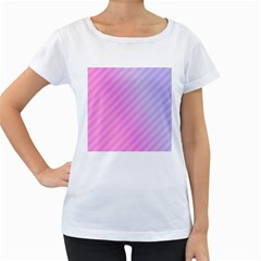 Diagonal Pink Stripe Gradient Women s Loose Fit T Shirt (white)