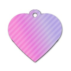 Diagonal Pink Stripe Gradient Dog Tag Heart (one Side)