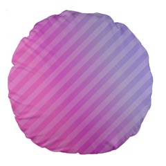Diagonal Pink Stripe Gradient Large 18  Premium Round Cushions by Nexatart